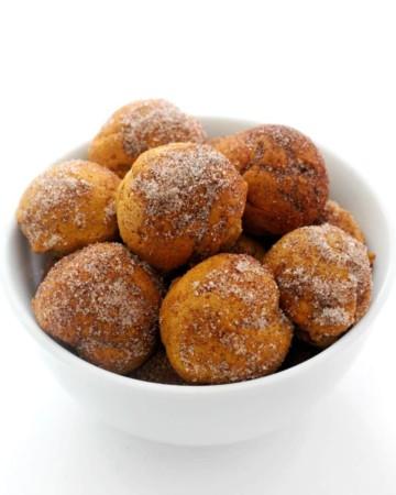 gluten-free pumpkin donut holes in white bowl