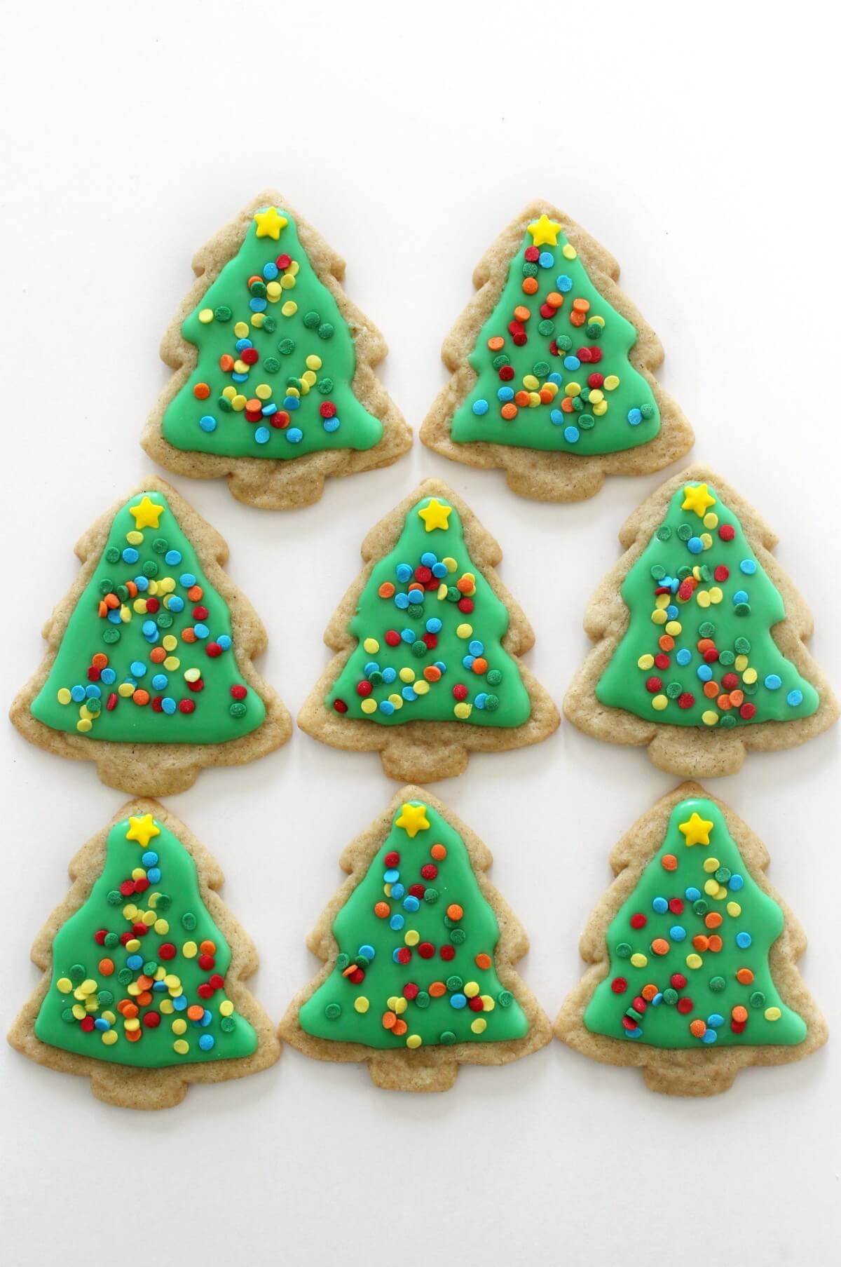 decorated gluten-free christmas tree sugar cookies
