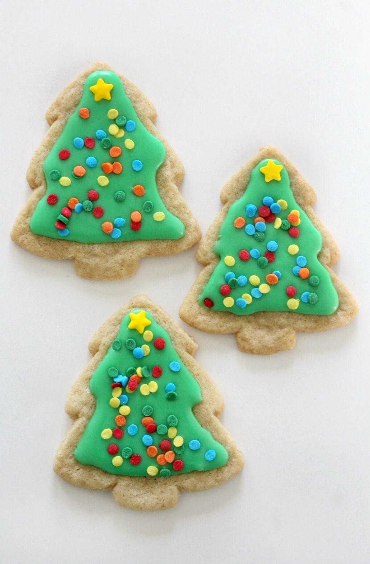 3 decorated gluten-free christmas tree sugar cookies