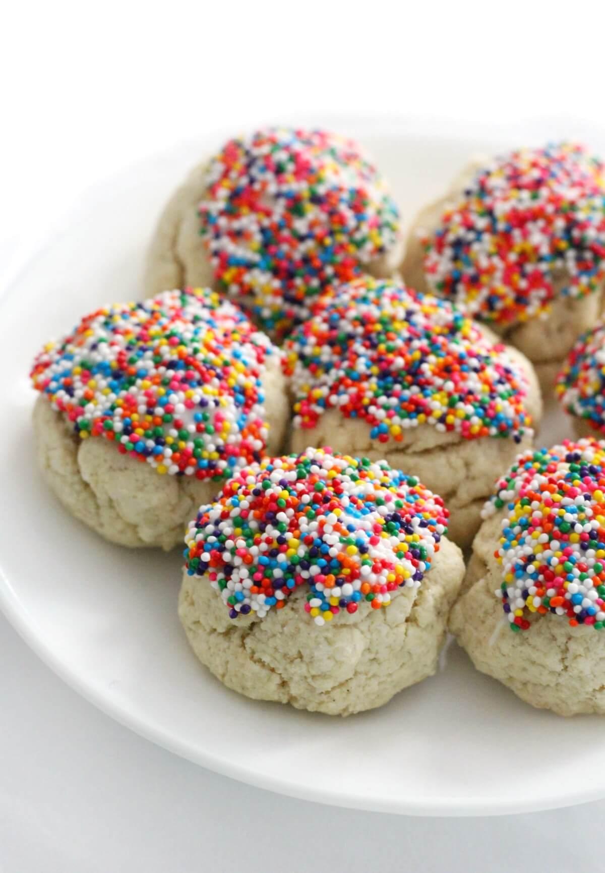 plate of iced gluten-free Italian anisette cookies