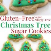 collage image of gluten-free christmas tree sugar cookies