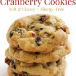 stacked vegan white chocolate cranberry cookies with image text