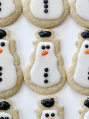 close-up of gluten-free snowman sugar cookie