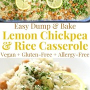 collage image of lemon chickpea and rice casserole