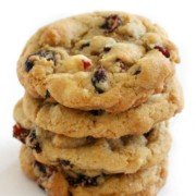 stack of vegan white chocolate cranberry cookies