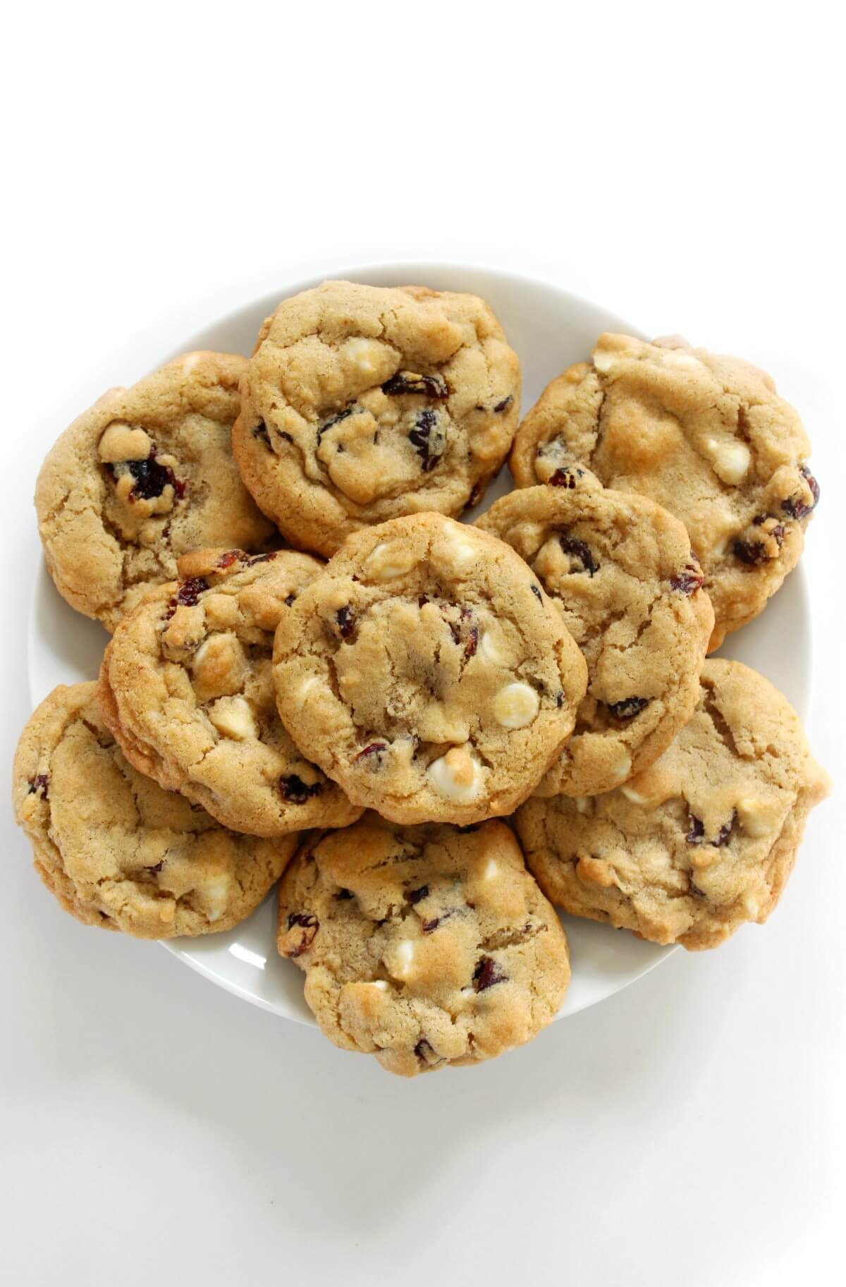 platter of white chocolate chip cranberry cookies