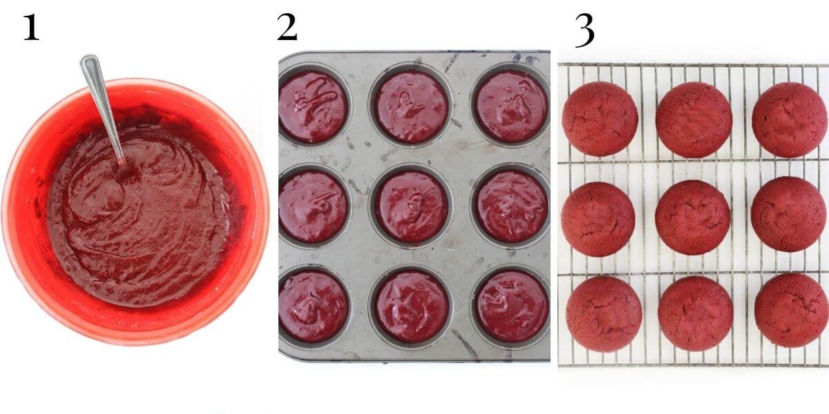 making red velvet cupcake batter process