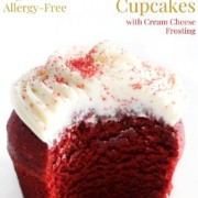 bitten gluten-free red velvet cupcake with image text