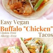 collage image of vegan buffalo jackfruit tacos