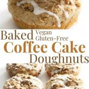 collage image of gluten-free coffee cake doughnuts
