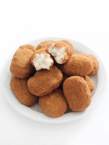 vegan irish potato candy on a white plate