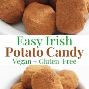 collage image of vegan irish potato candy