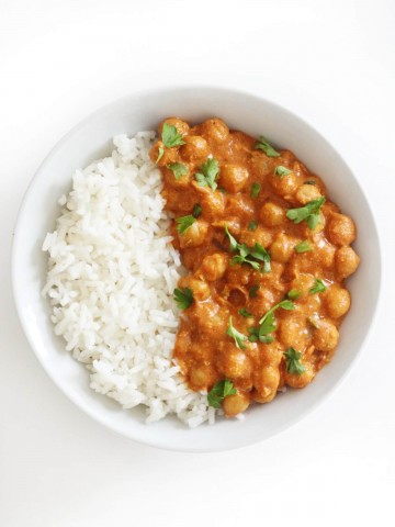 overhead view of vegan indian butter chickpeas with rice