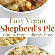 collage image of easy vegan lentil shepherd's pies