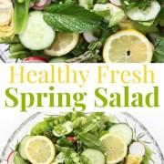 collage image of fresh spring salad