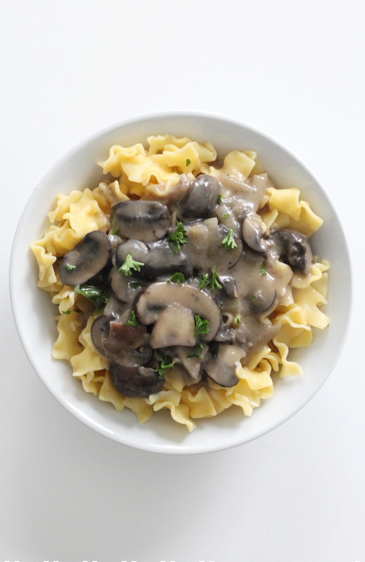 overhead view of vegan mushroom stroganoff over gluten-free noodles in bowl