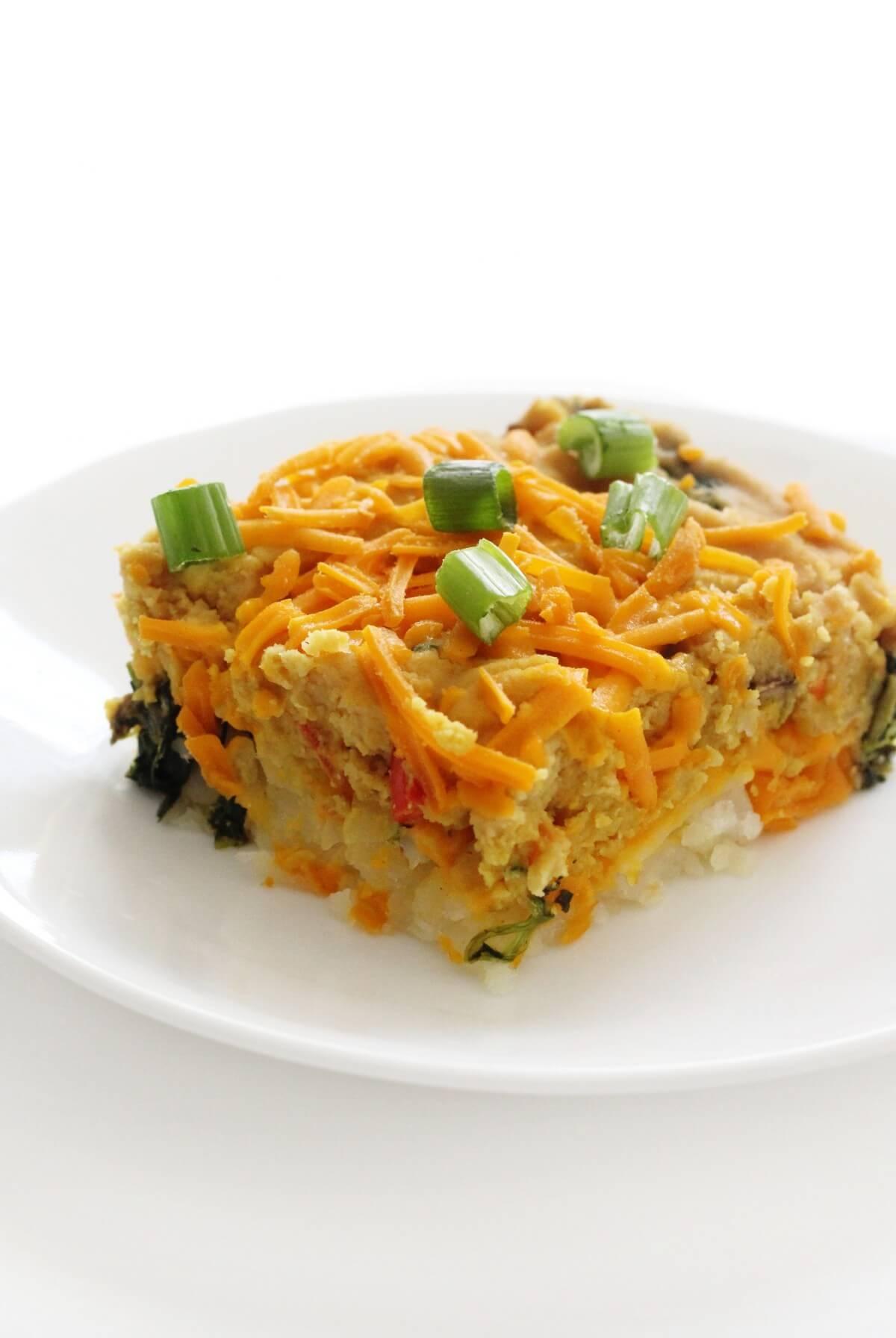 serving of easy vegan breakfast casserole on white plate