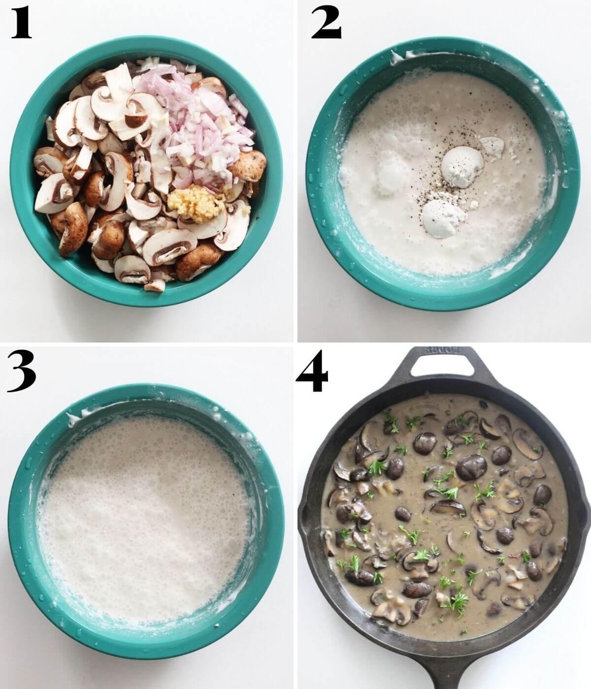 step-by-step process for making vegan mushroom stroganoff