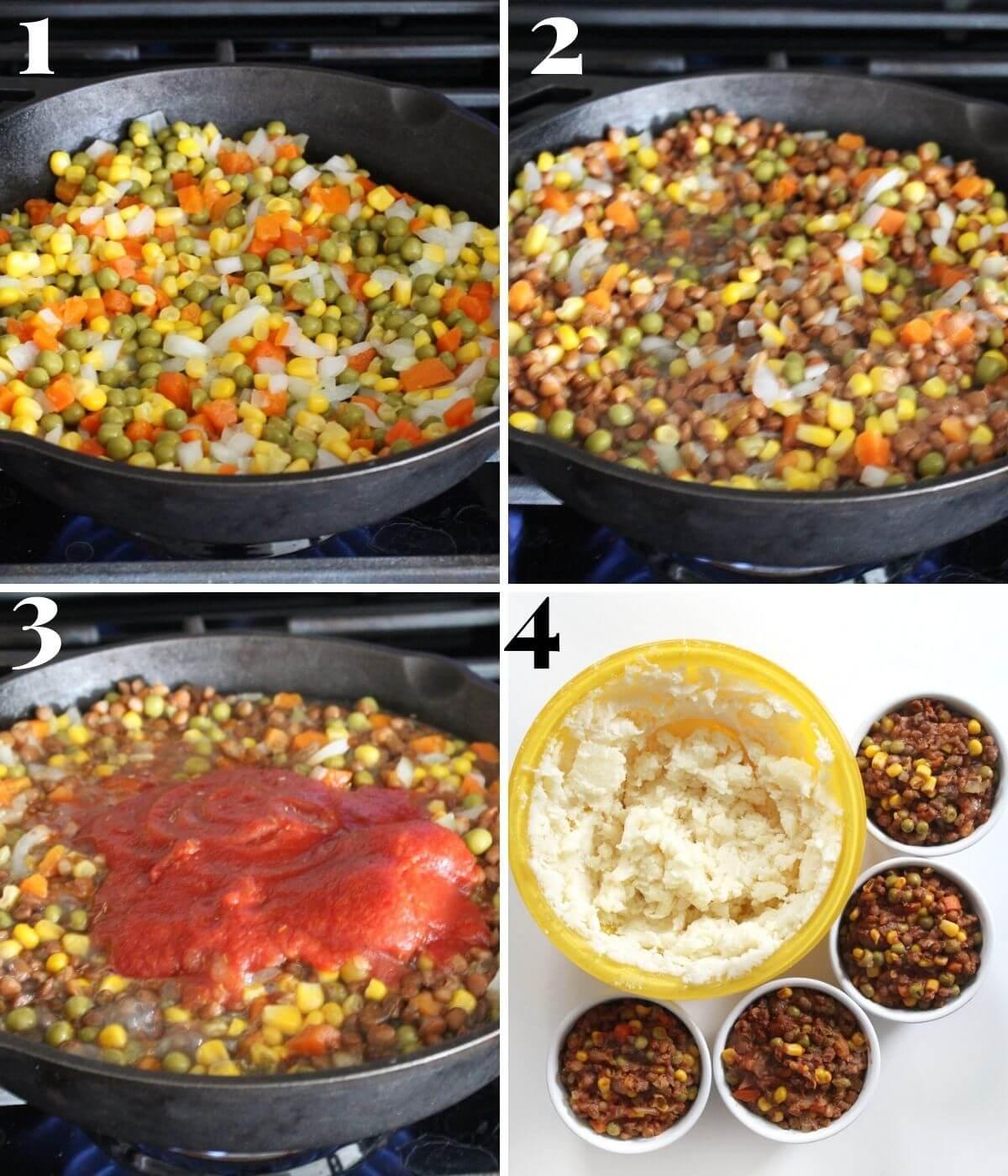 steps for making lentil shepherd's pie