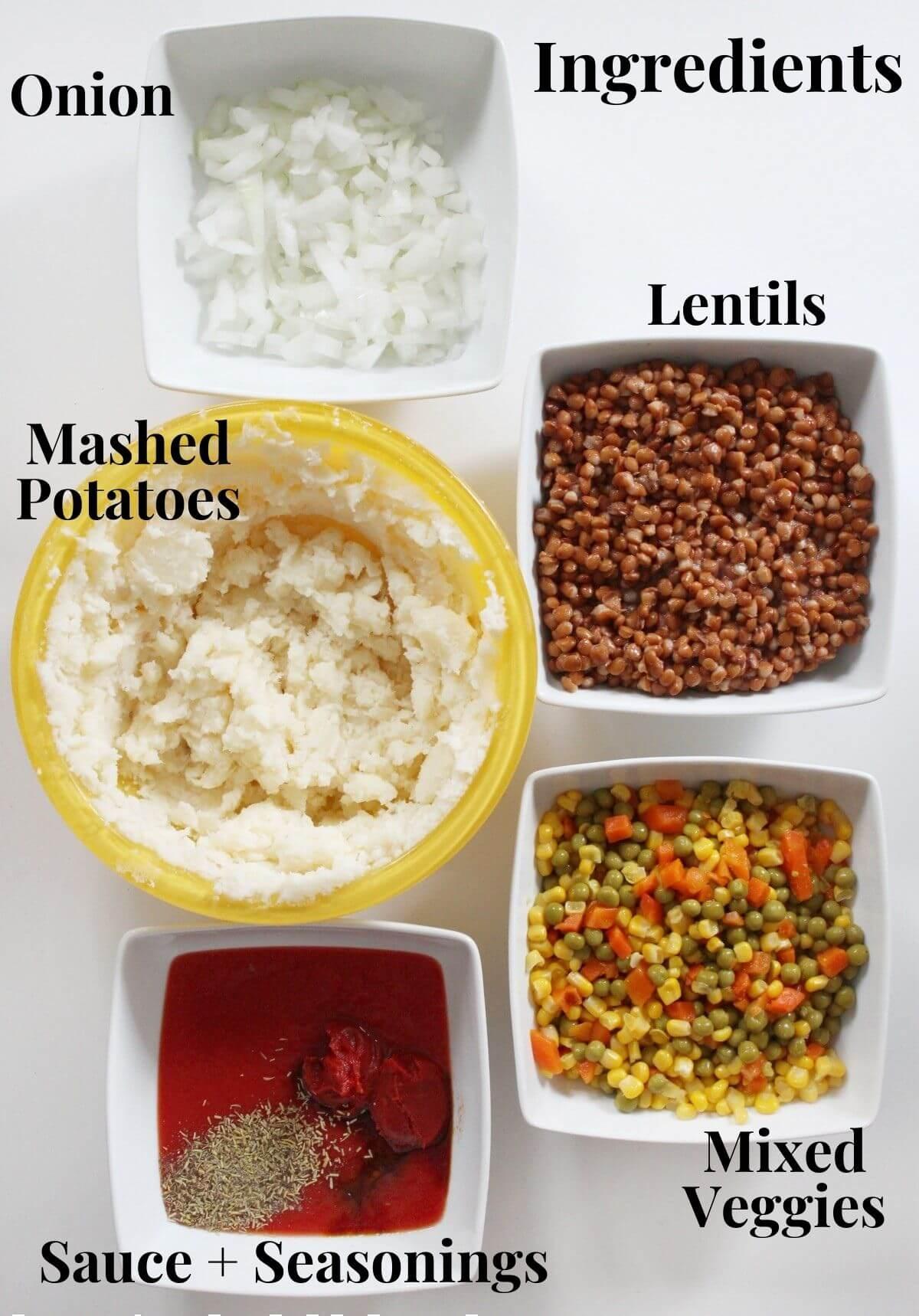 ingredients for lentil shepherd's pie