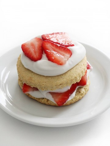 gluten-free strawberry shortcake on white plate