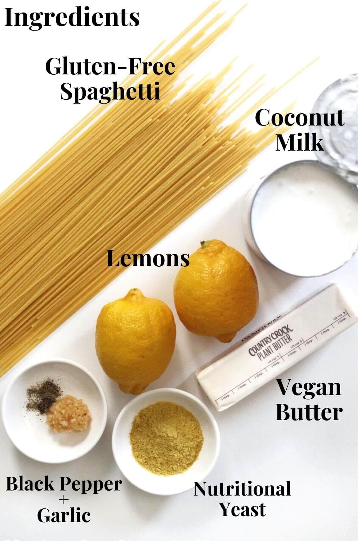 ingredients for vegan and gluten-free pasta al limone