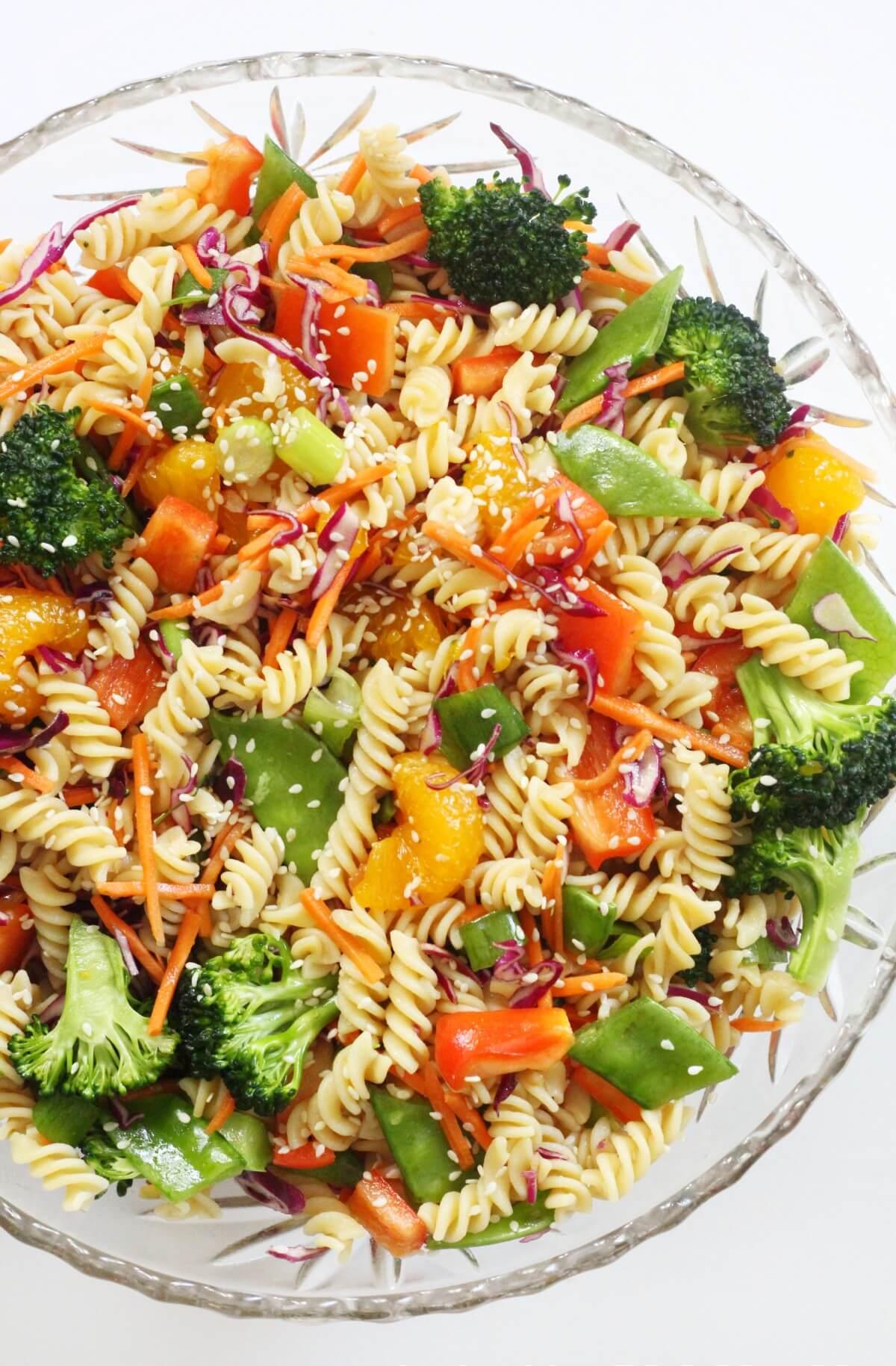 full bowl of cold gluten-free and vegan asian pasta salad