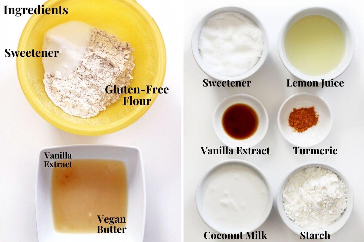 ingredients for gluten-free vegan lemon bars