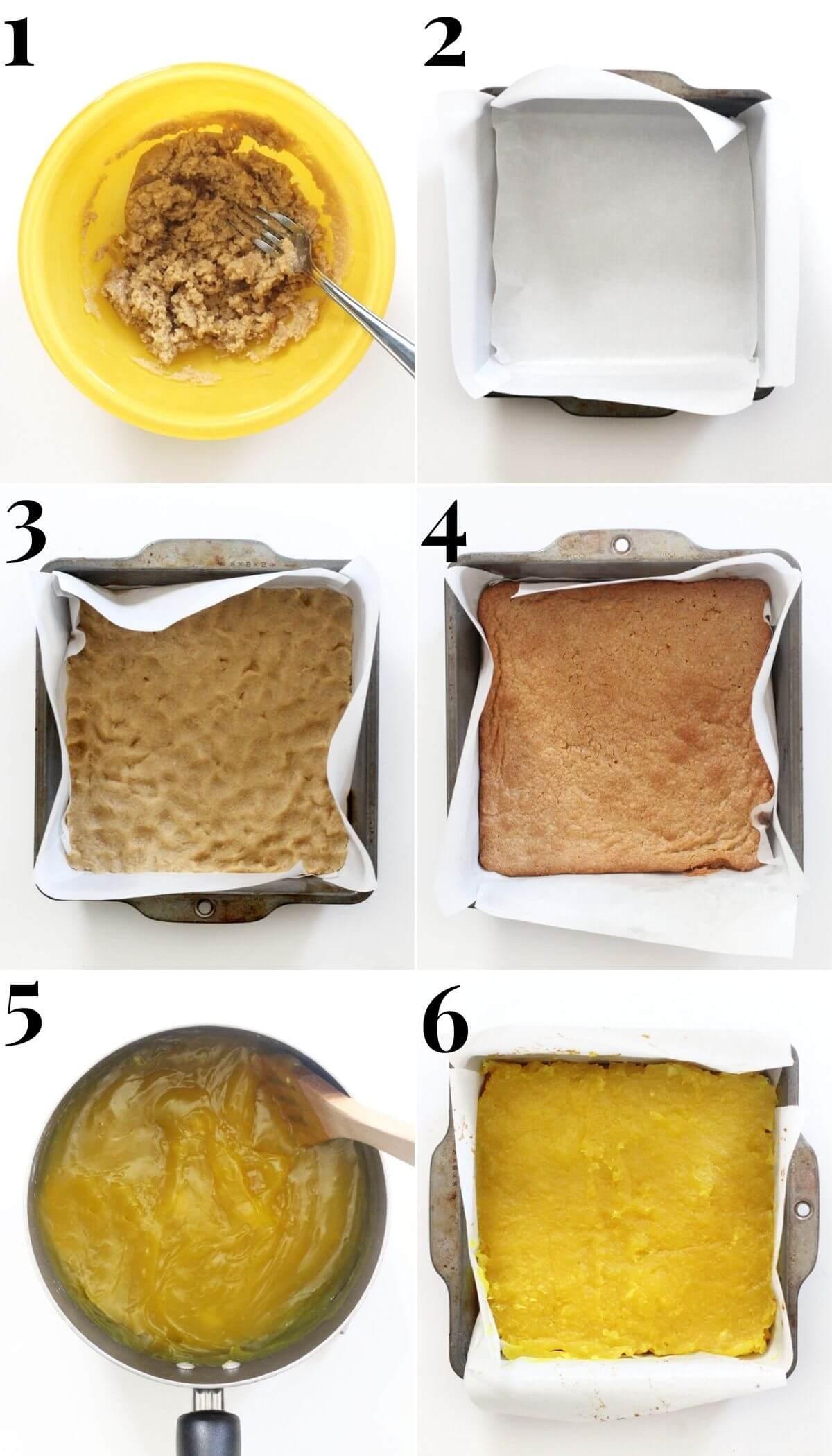 6 step process for making gluten-free and vegan lemon bars