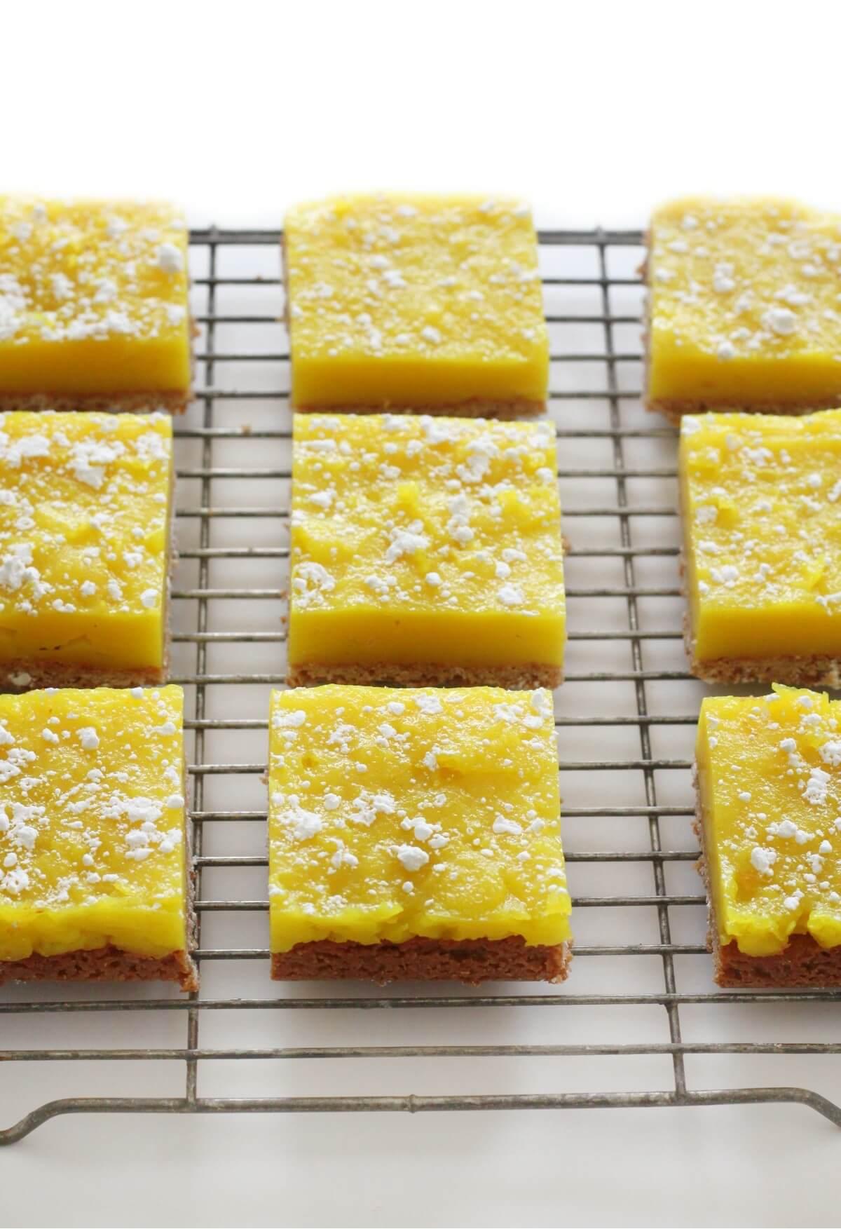 gluten-free vegan lemon bars cooling on wire rack