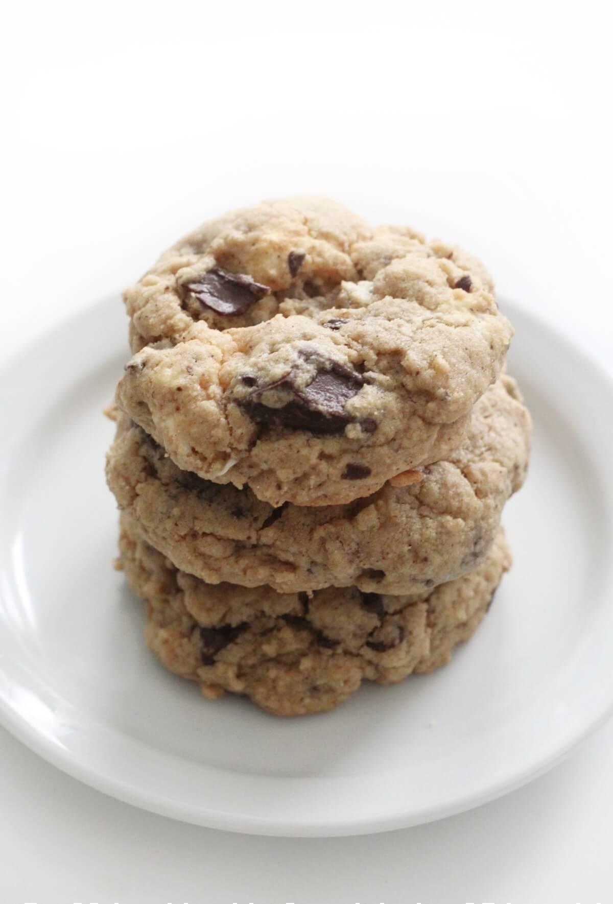 stack of 3 vegan s'mores cookies