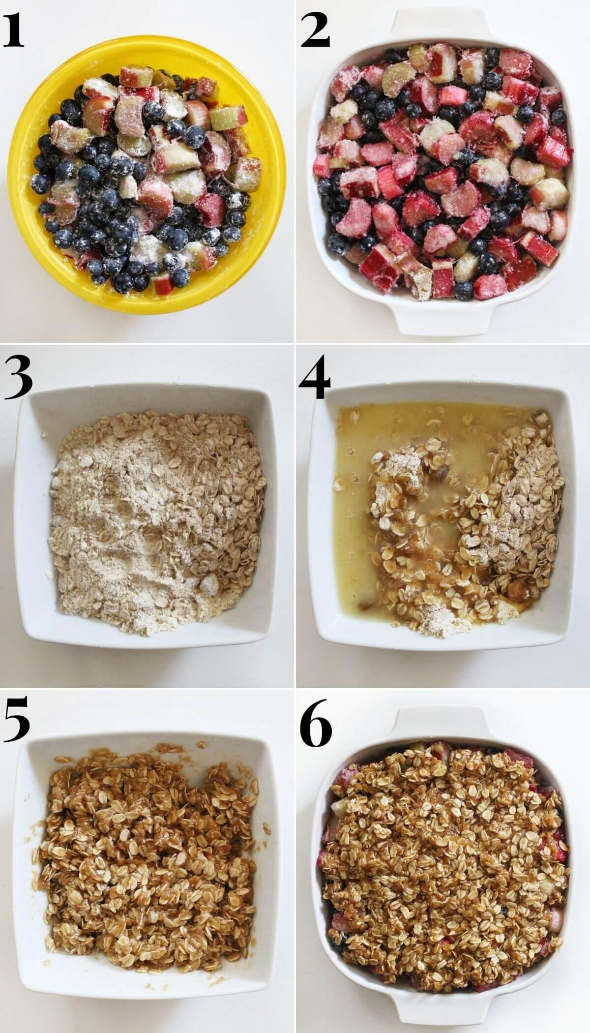 six steps to preparing a blueberry rhubarb crisp