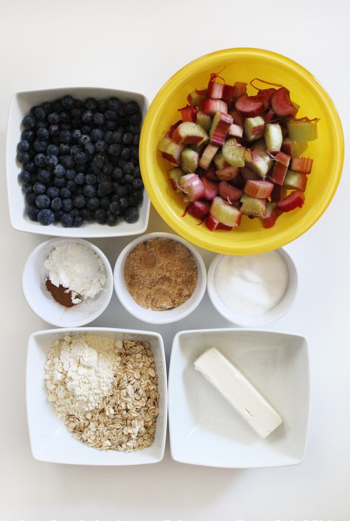 ingredients for blueberry rhubarb crisp