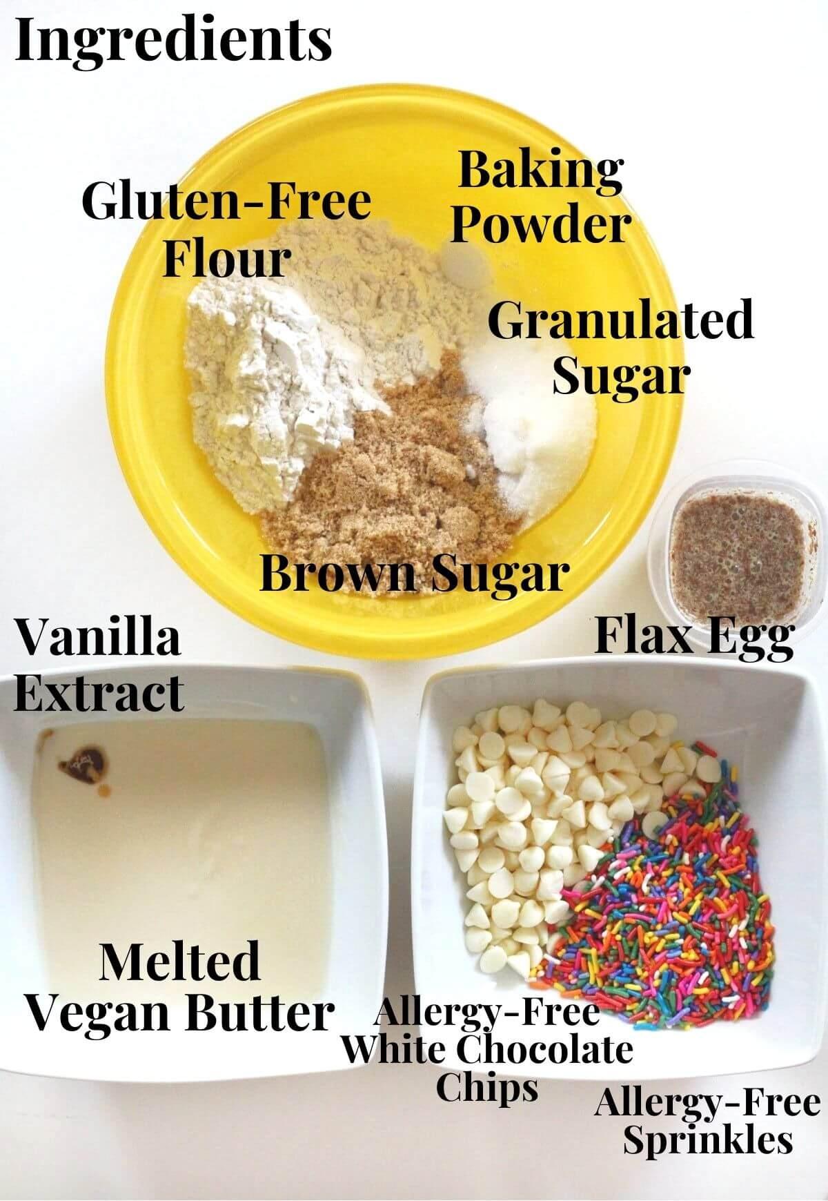 vegan and gluten-free funfetti blondie ingredients