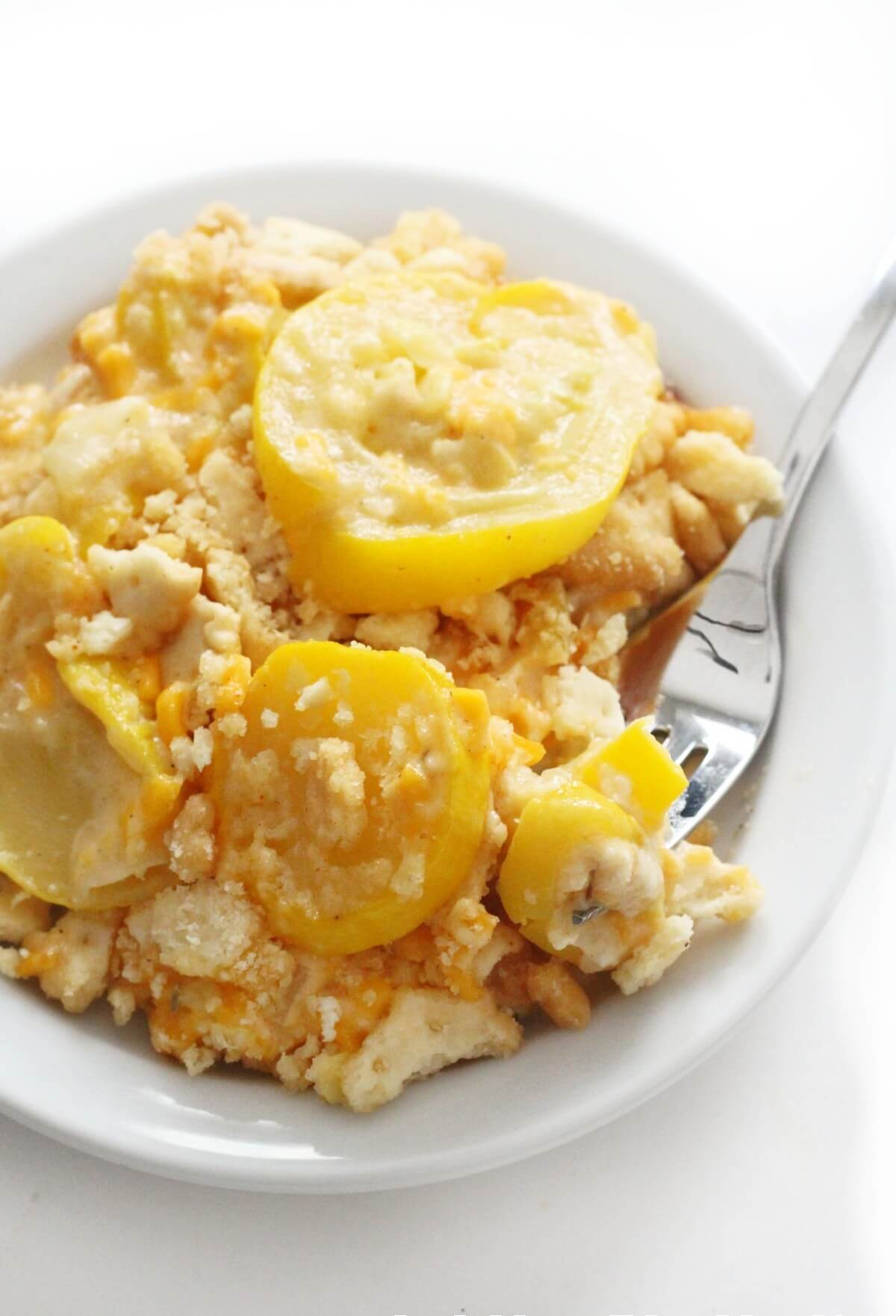 close-up of forkful of vegan southern squash casserole