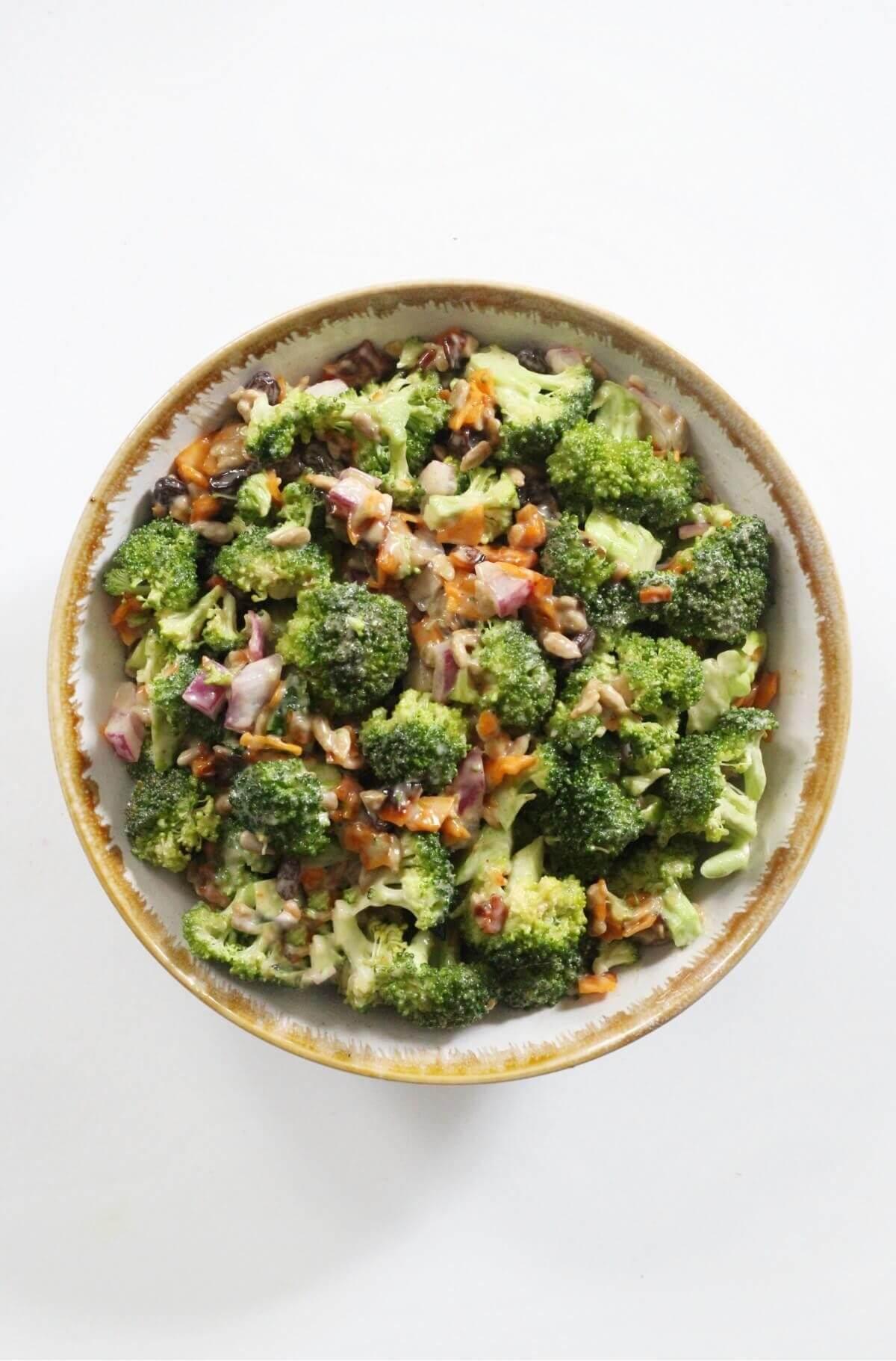 centered overhead view of vegan broccoli salad