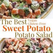 collage image of sweet potato potato salad