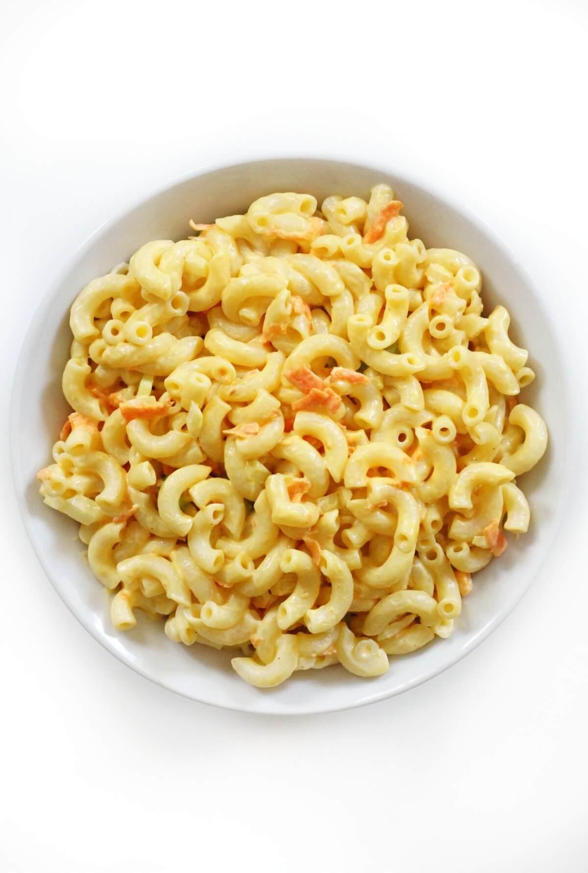 overhead view of gluten-free Hawaiian macaroni salad in white bowl