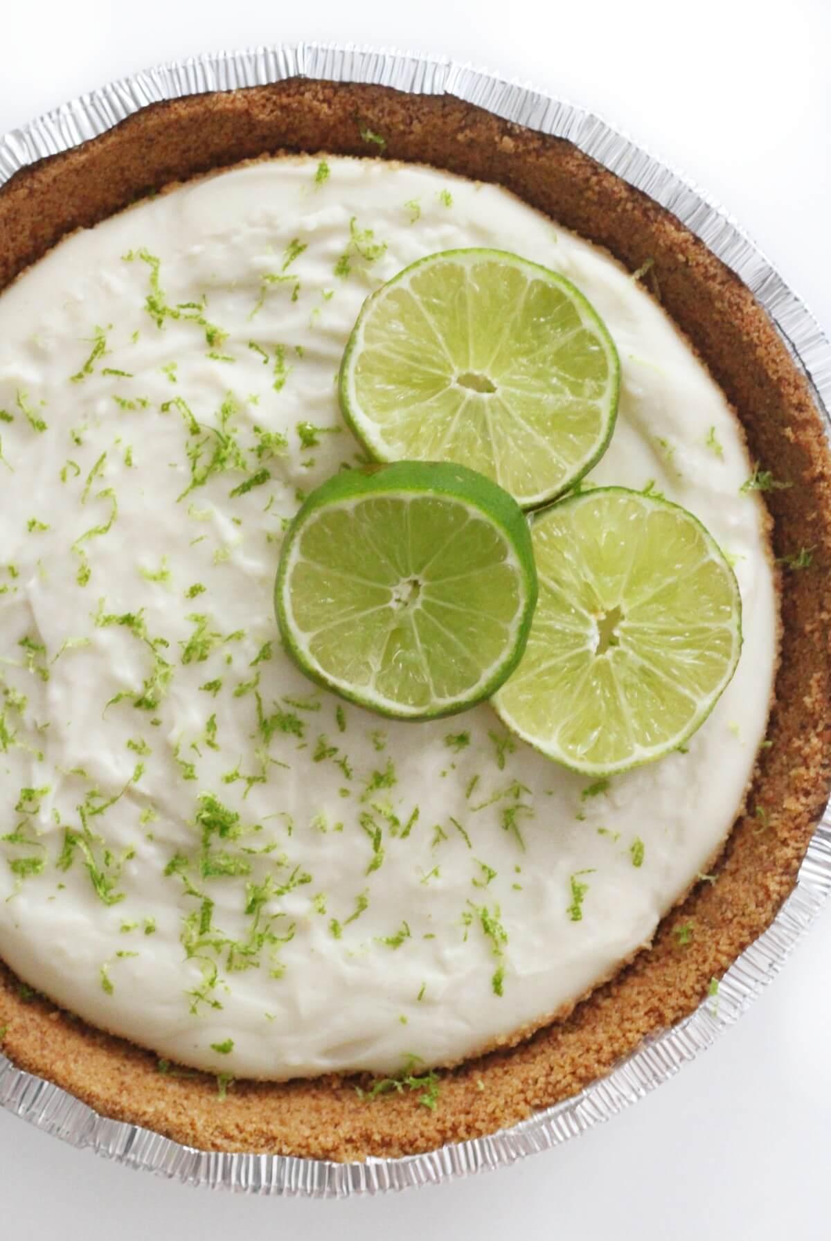 half view of no-bake key lime pie