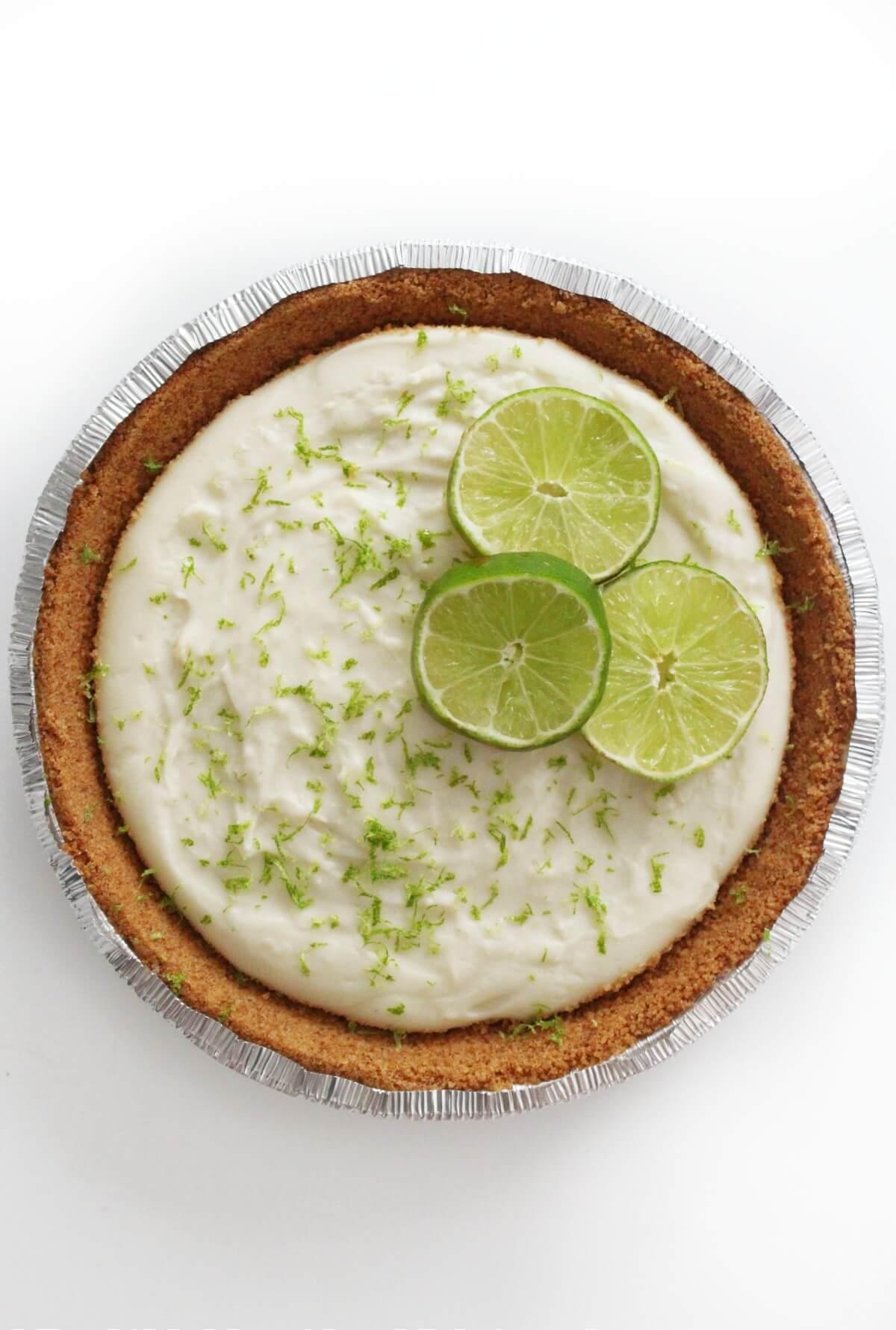 full no bake vegan key lime pie in foil dish
