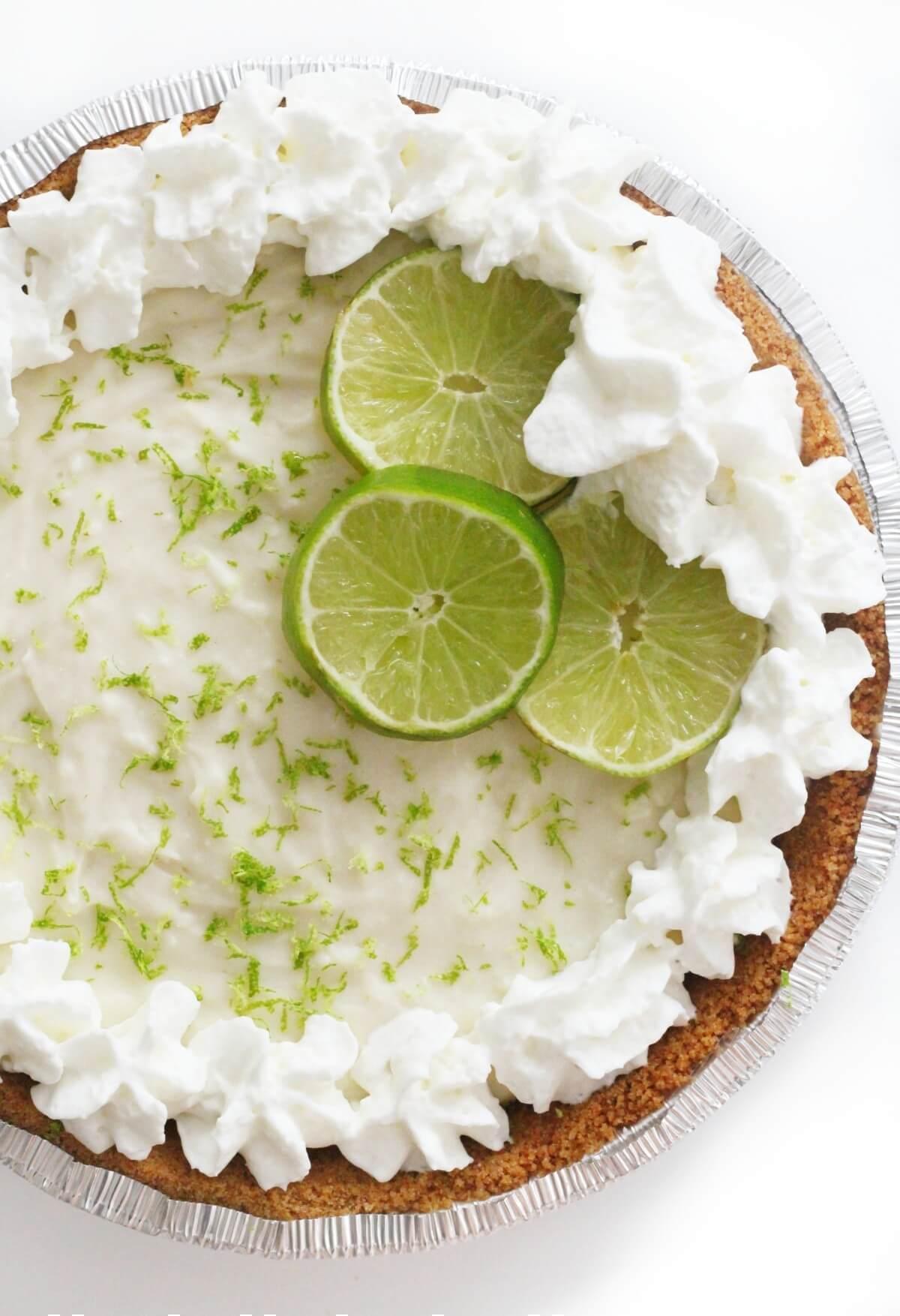 no bake key lime pie with vegan whipped cream rim