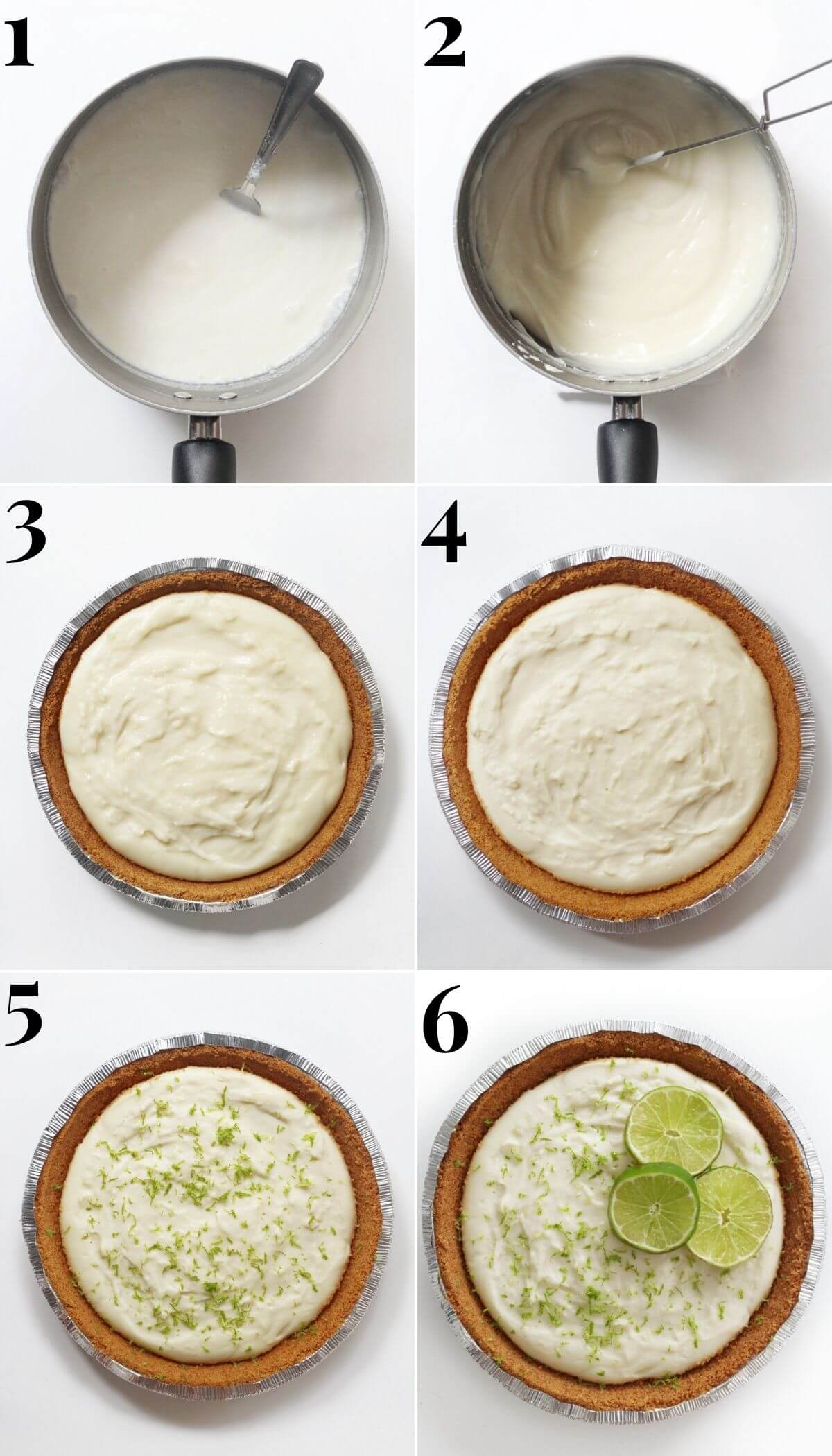 6 step process to make no bake key lime pie from scratch