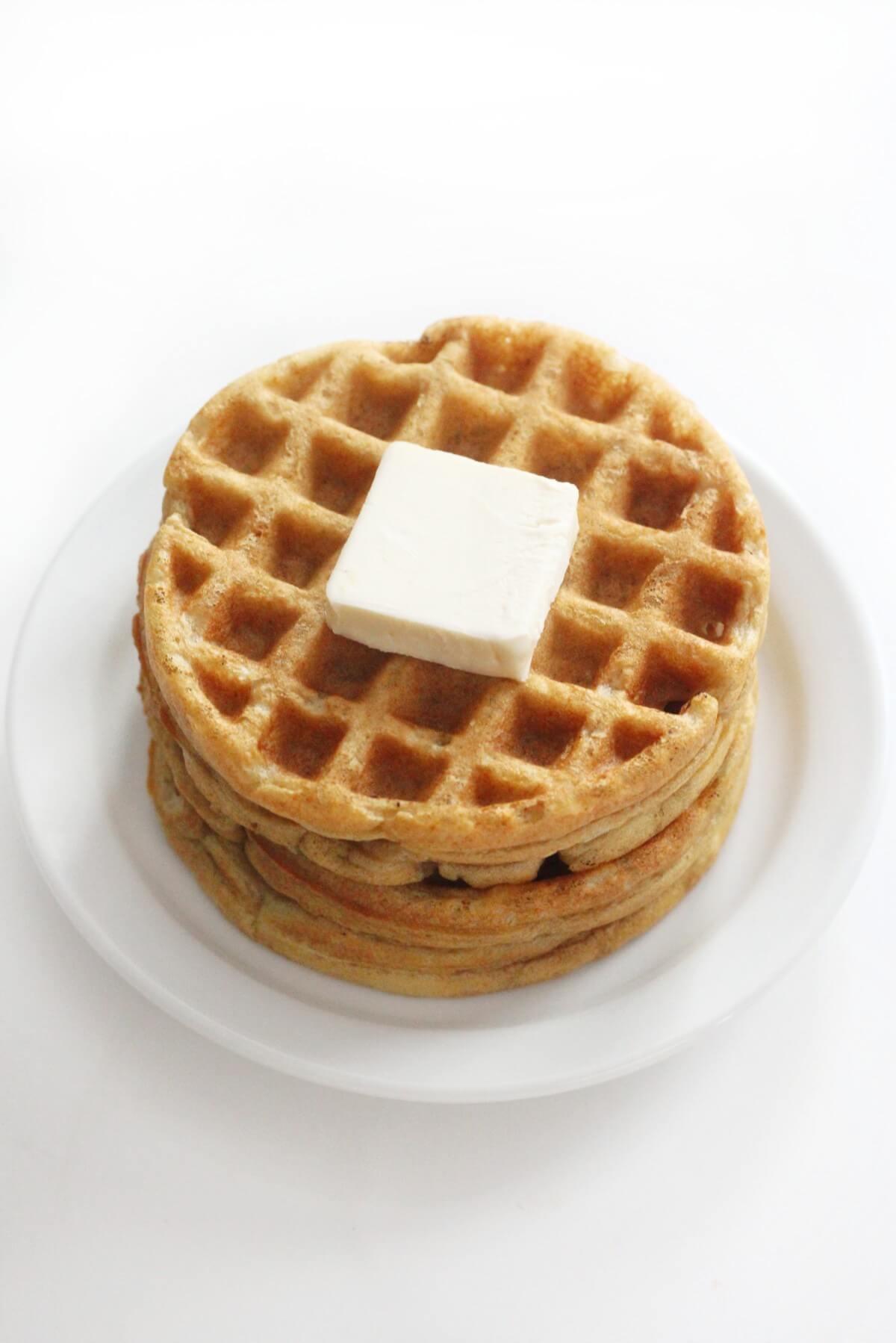 plain stack of gluten-free vegan buttermilk waffles