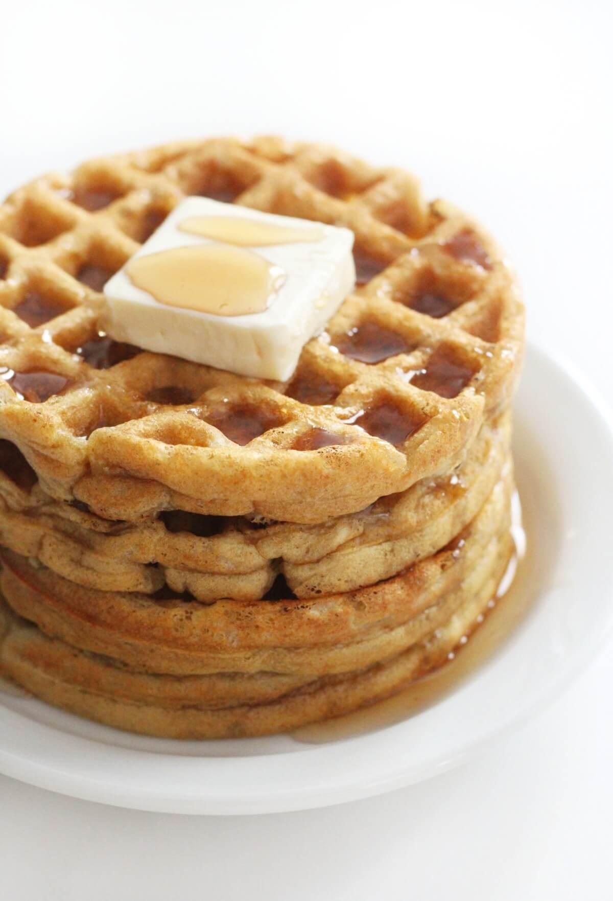 stack of 4 gluten-free vegan buttermilk waffles on plate