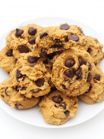 final plate piled with soft vegan pumpkin chocolate chip cookies