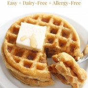 crispy gluten-free buttermilk waffles with image text
