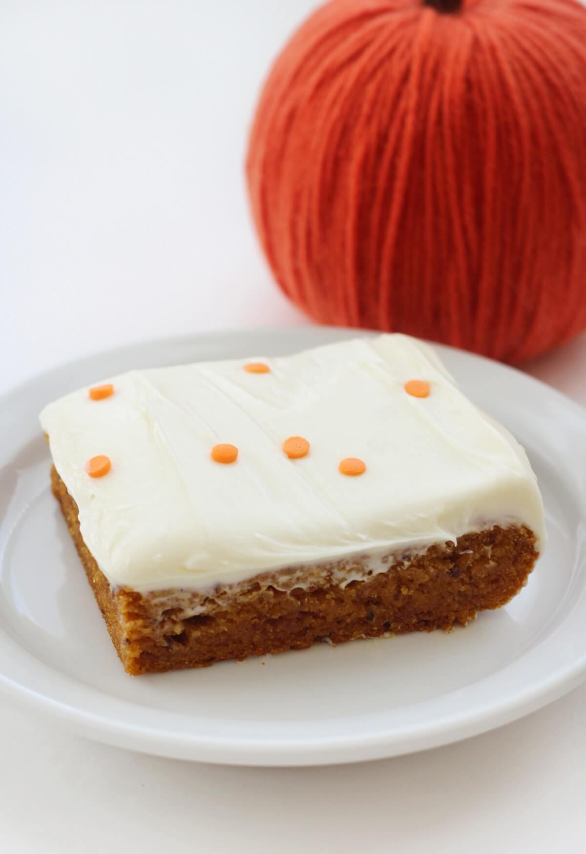 fresh slice of gluten-free pumpkin cake