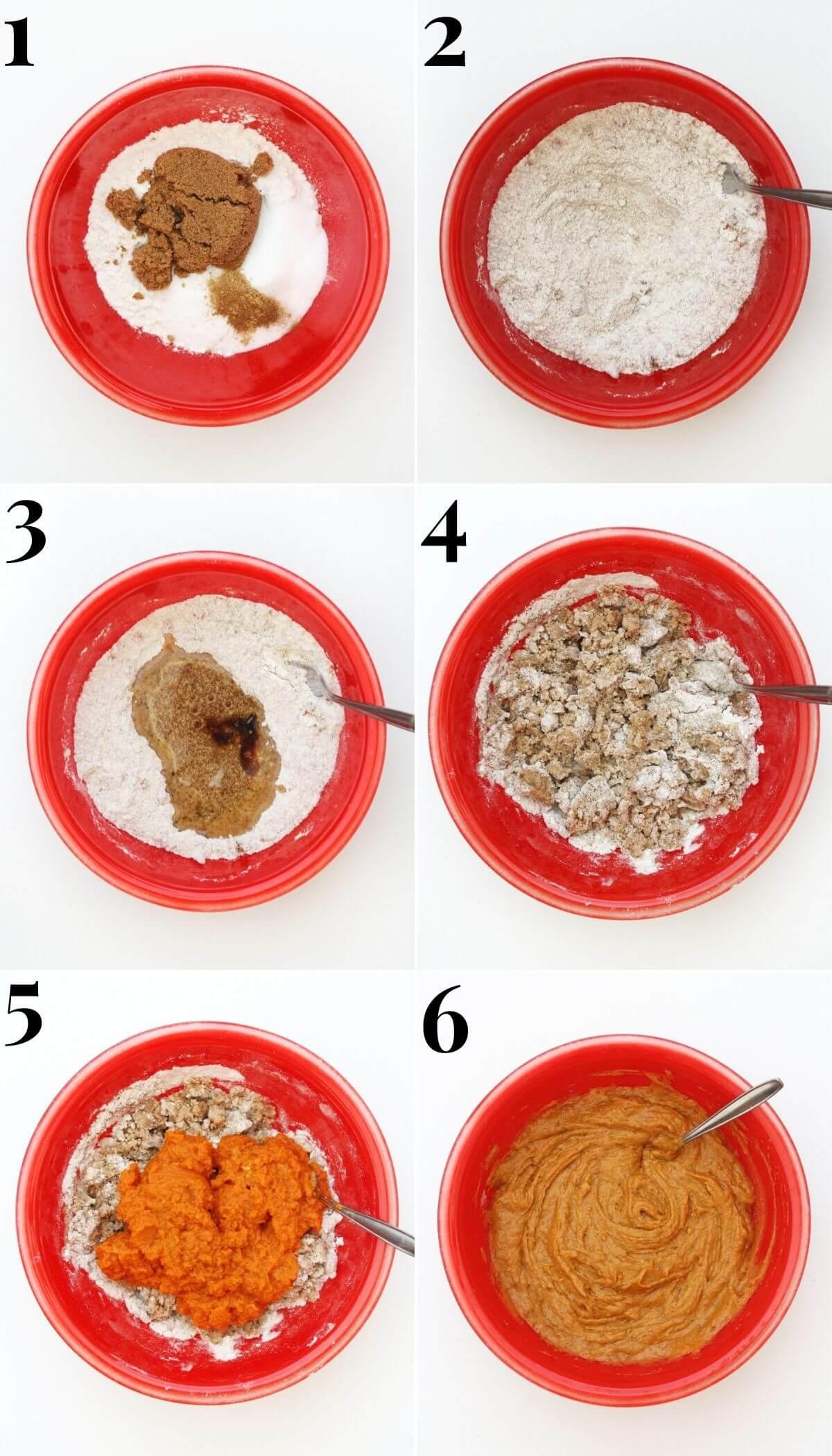 process steps for making gluten-free pumpkin cake batter