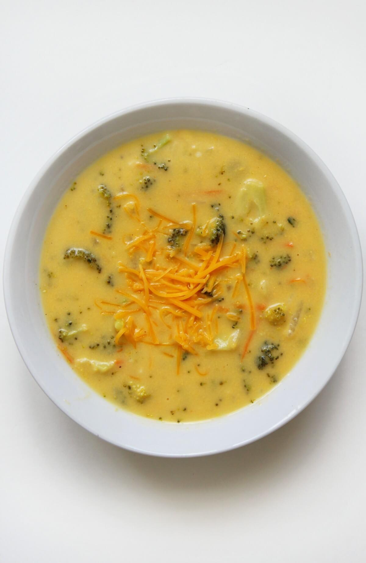 overhead view of vegan broccoli cheddar soup