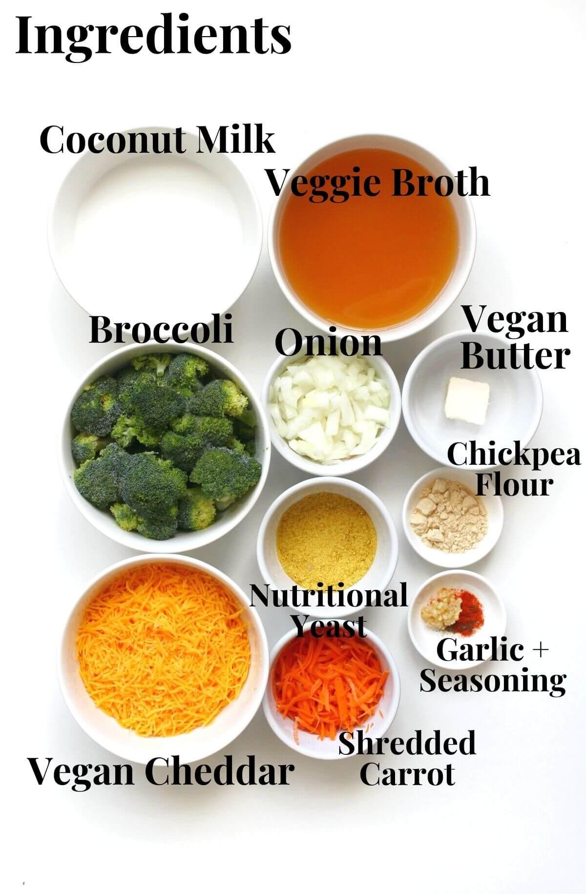 ingredients for homemade vegan broccoli cheddar soup